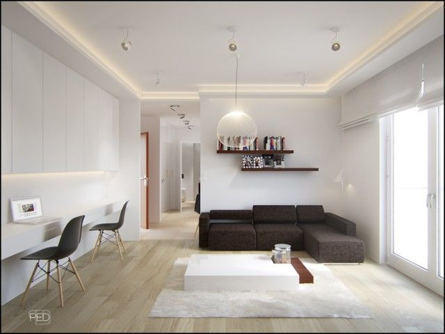 Modern Simple Space Yet Pleasent In Every Day Use Minimalist Space Office Fourty Square M Modern Apartment Decor Home Office Design Interior Design