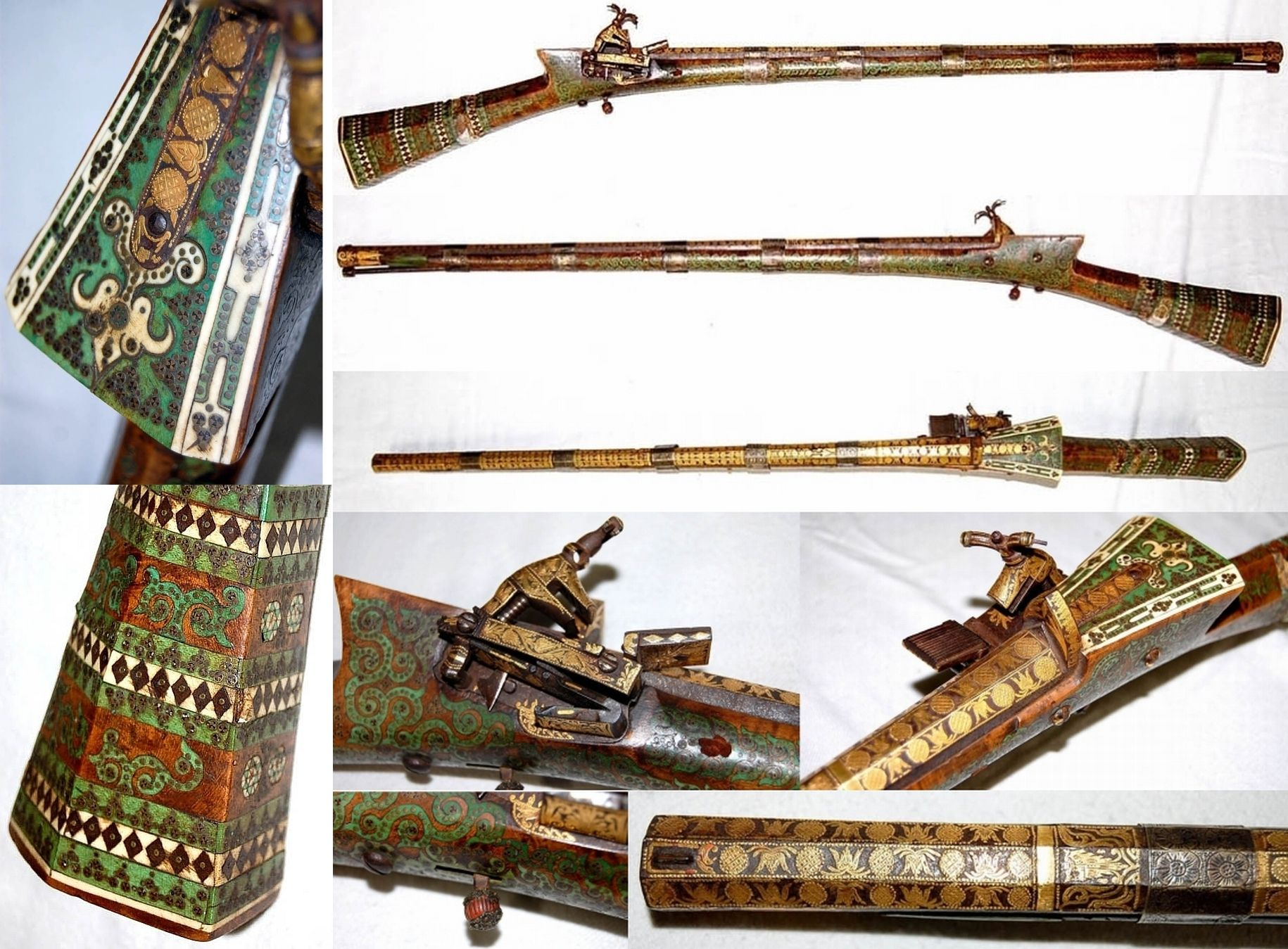 Ottoman flintlock rifle, 19th c, superbly decorated with green enamel and elaborate inlays of ivory small metal inserts, with gold damascening on the barrel and lock, 18th to 19th century.