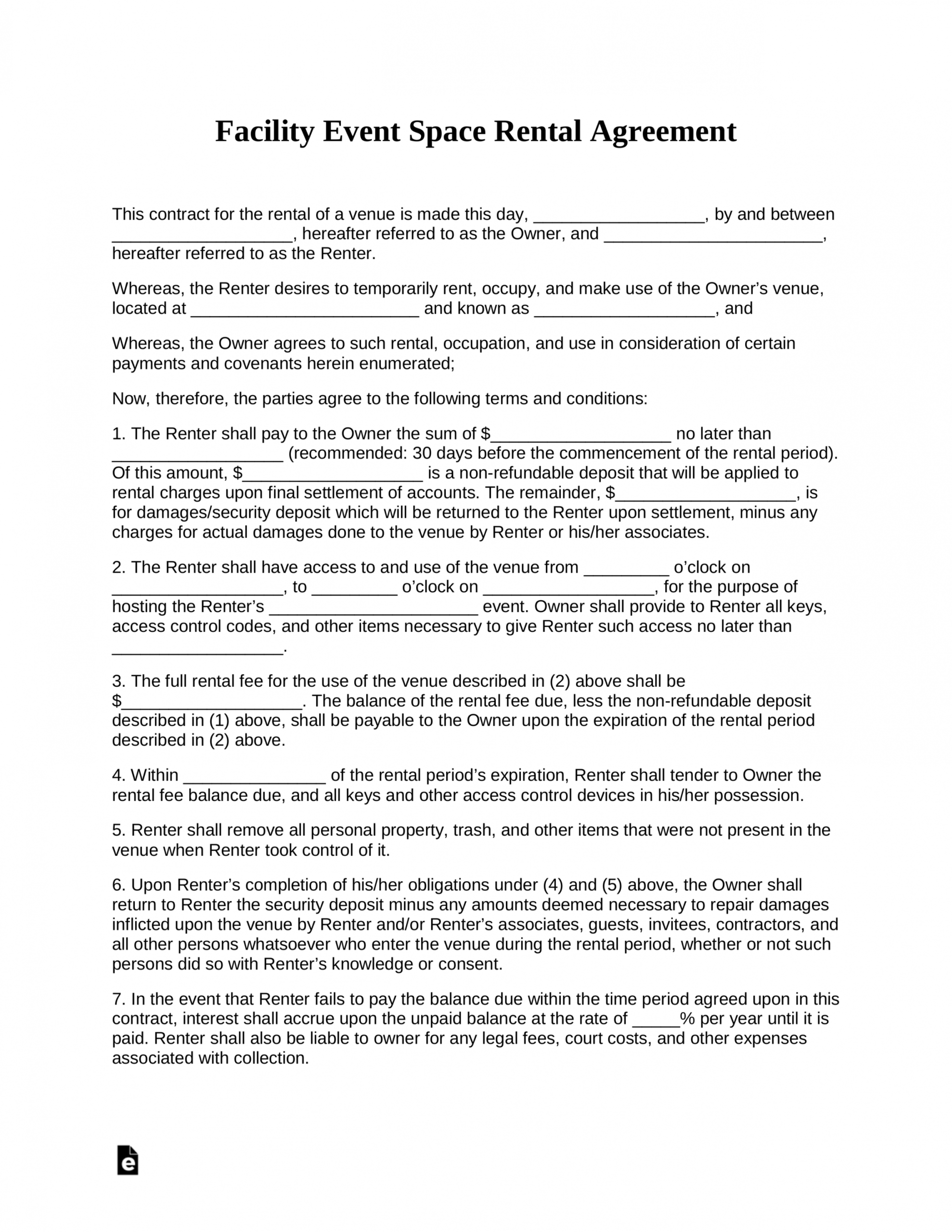 Get Our Example Of Facilities Use Agreement Template Rental Agreement Templates Event Space Rental Contract Template