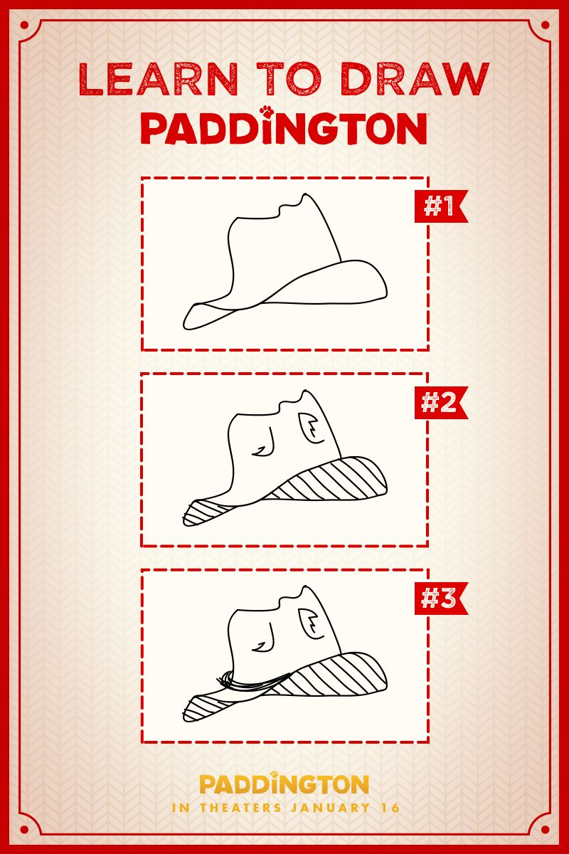 how to draw paddington for kids