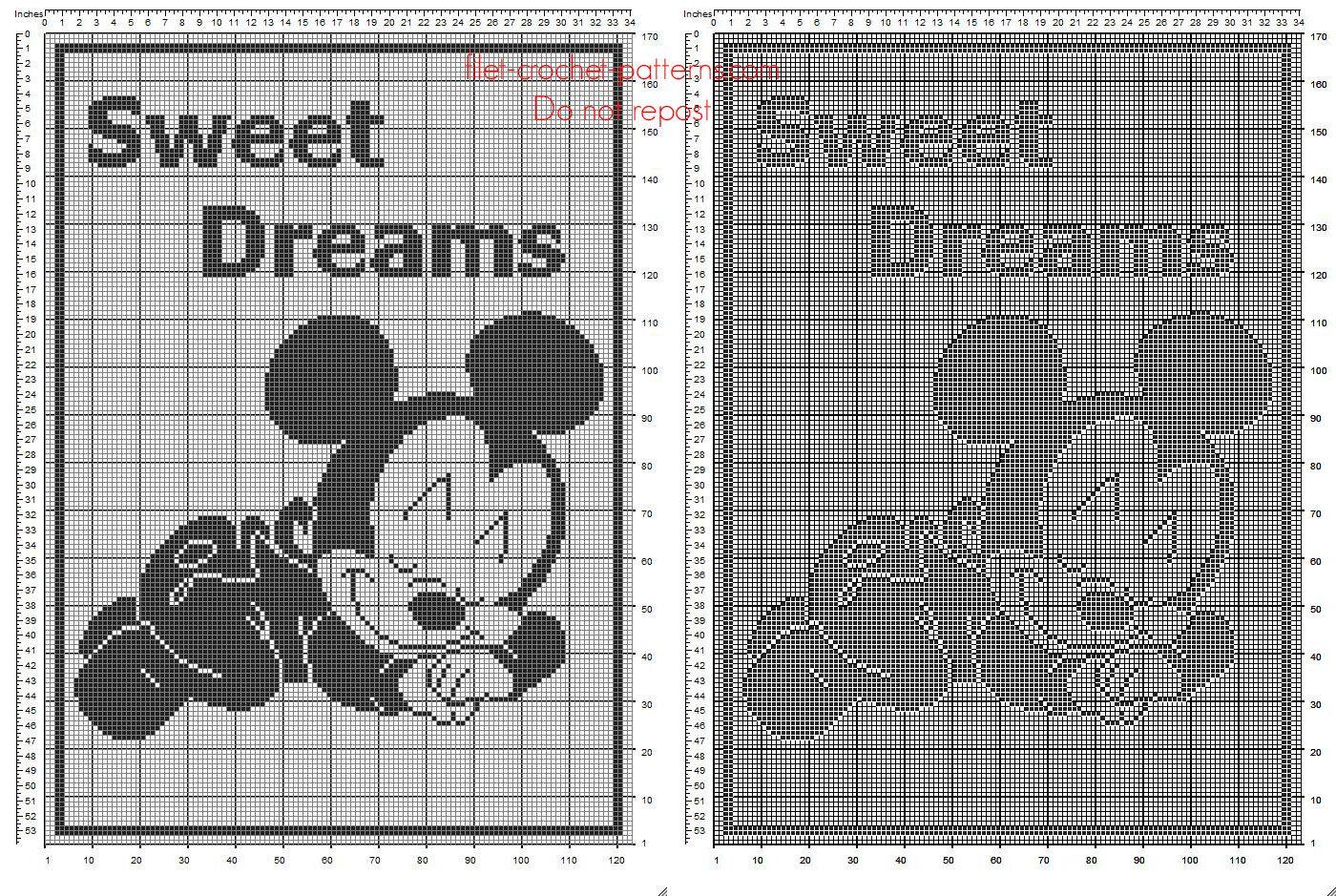 Free Disney filet crochet pattern baby blanket with baby Mickey ...