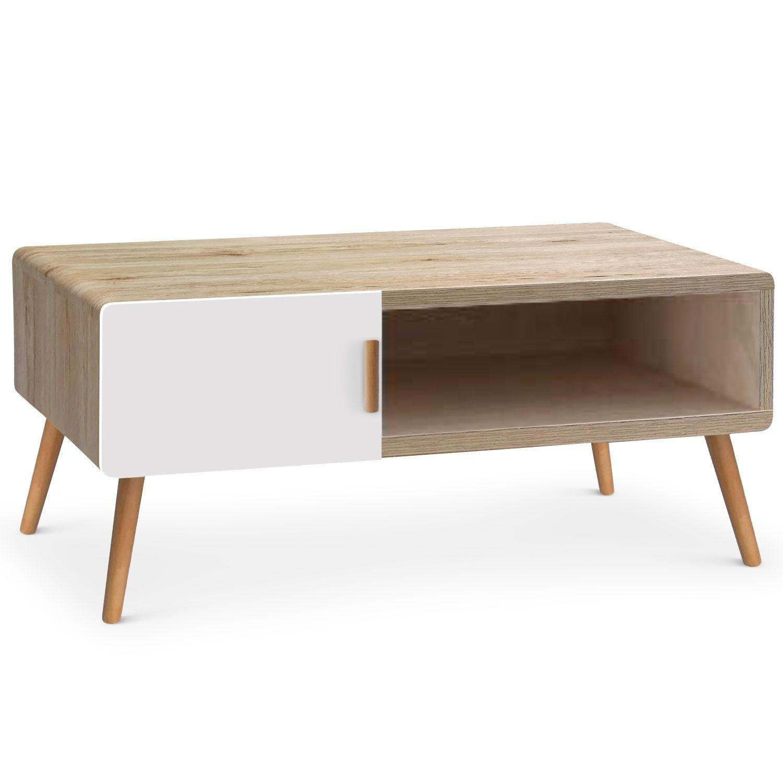 Drugstore Modern Table Basse De Style Scandinave Bois Naturel Et  # Meuble Scandinave Blanc Et Chene
