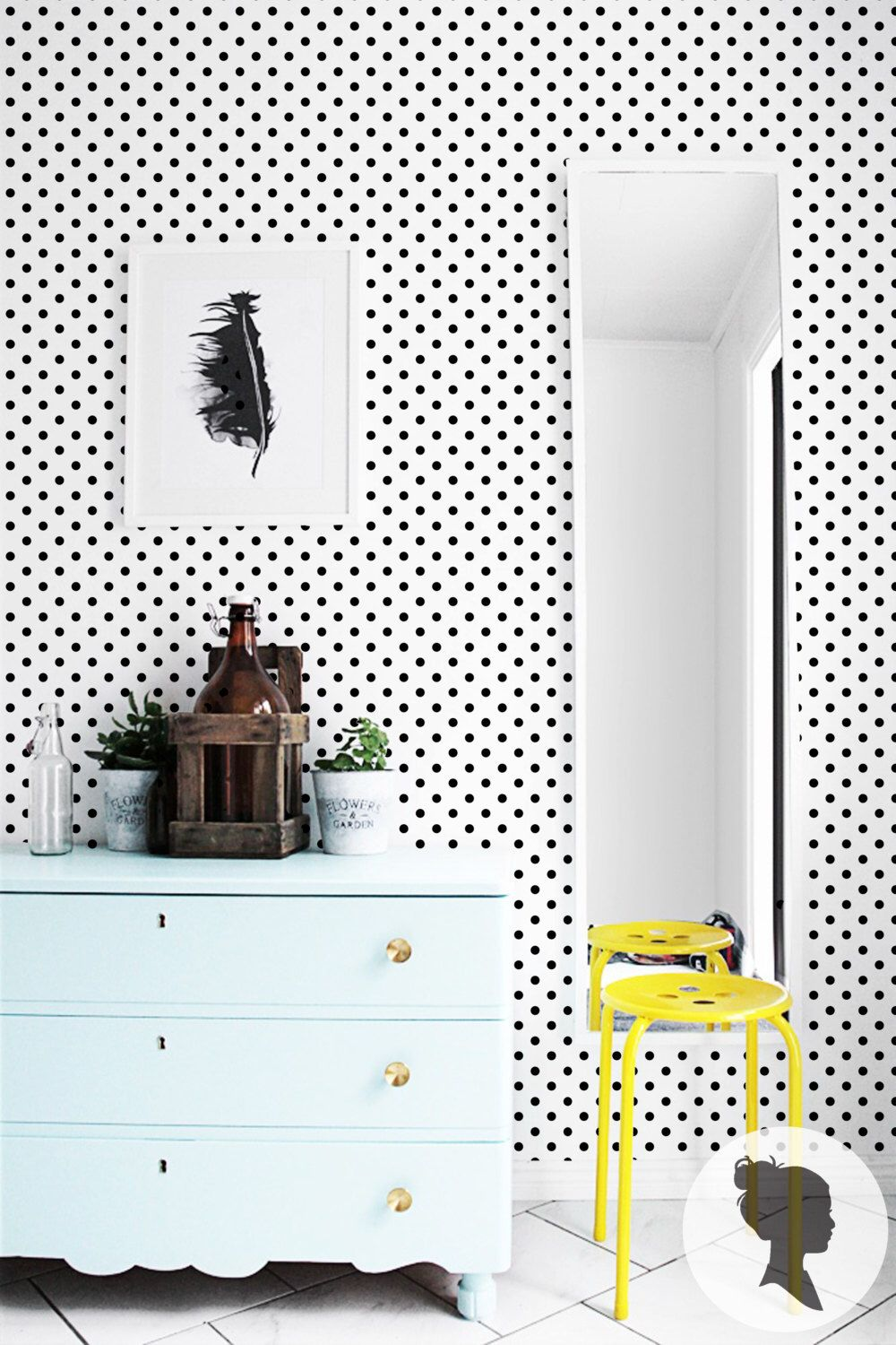 Black Polka Dot Wallpaper / Self Adhesive Removable or