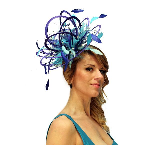 Turquoise /& Emerald Green Fascinator Hat//Choose any satin//feather colour