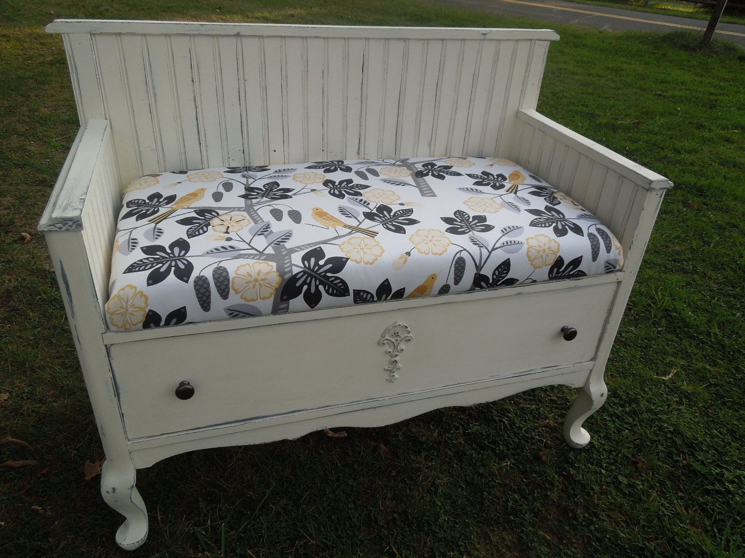 Bench with Beadboard from Repurposed Antique Dresser with