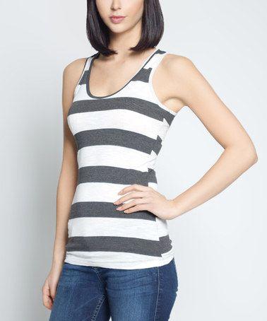 White & Gray Stripe Tank #zulily #zulilyfinds