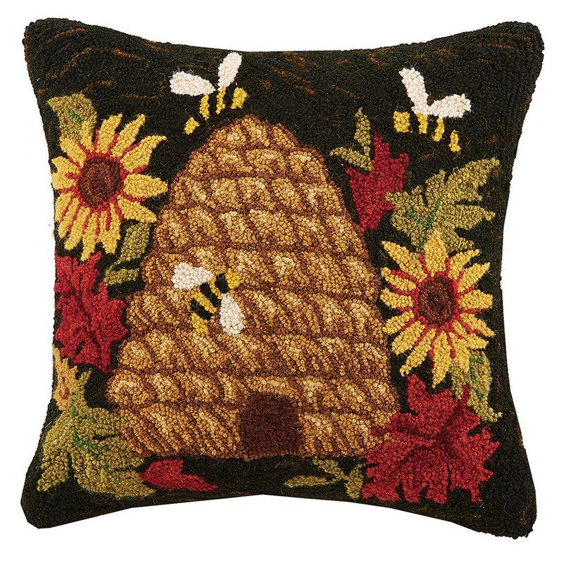 Beehive Sunflower Hook Wool Throw Pillow Throw Pillows Pillows Wool Throw Pillows