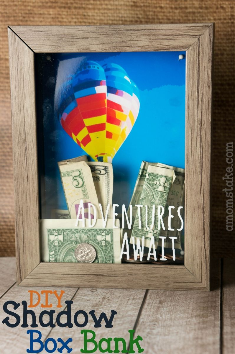 DIY Shadow Box Bank tutorial and free printable background art - Adventures await fun travel themed bank to save for a vacation
