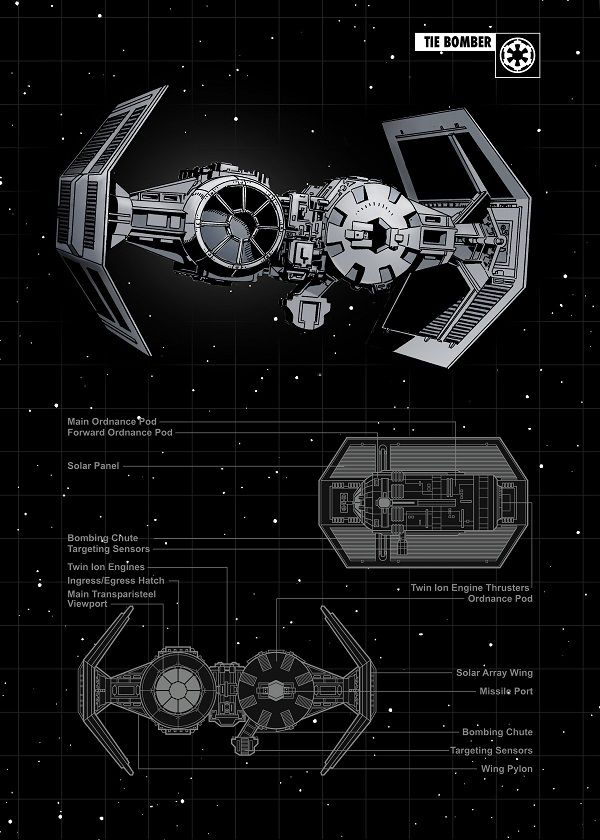 "Official Star Wars Spaceships Technic TIE Bomber #Displate artwork by artist ""Star Wars"". Part… 