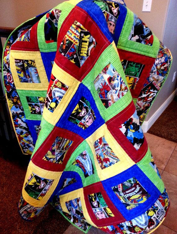 Superhero Quilt by LannersQuilts on Etsy, $103.00 | Quilting ... : superhero quilts - Adamdwight.com