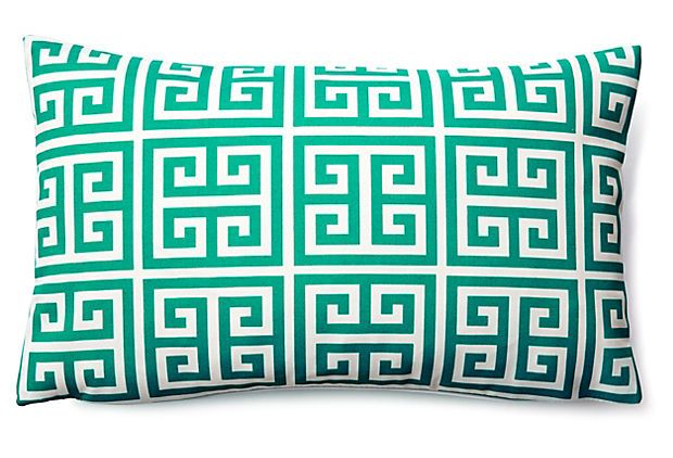 Greek Key 12x20 Outdoor Pillow, Teal on OneKingsLane.com