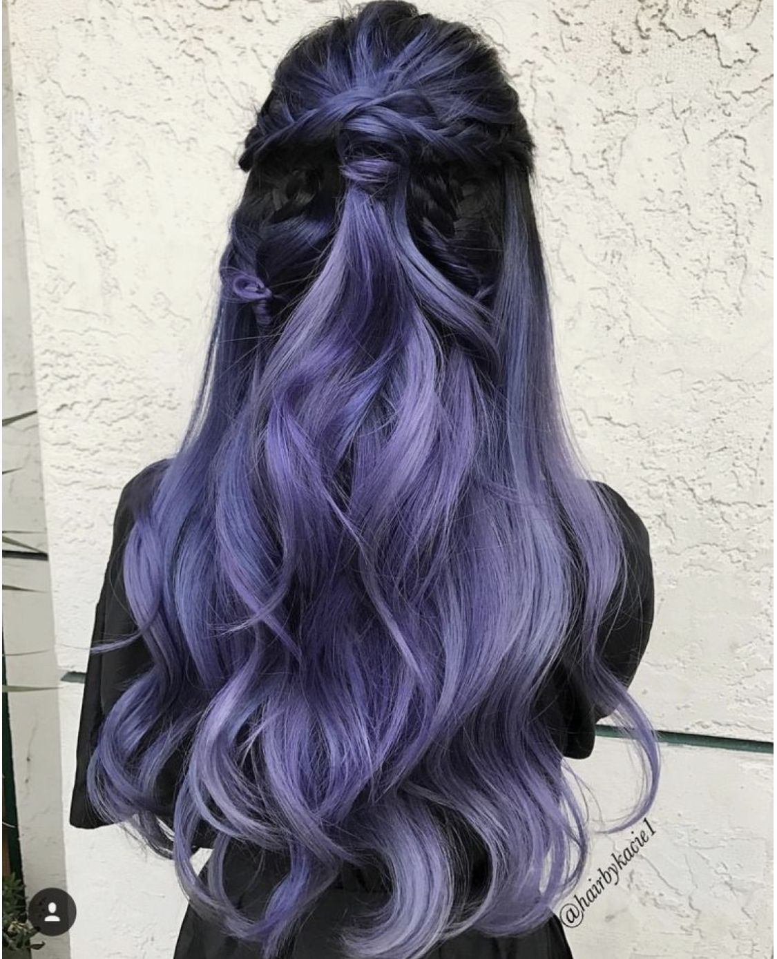 Pastel Lavender Lace Front Long Wavy Violet Wig With Ombre For