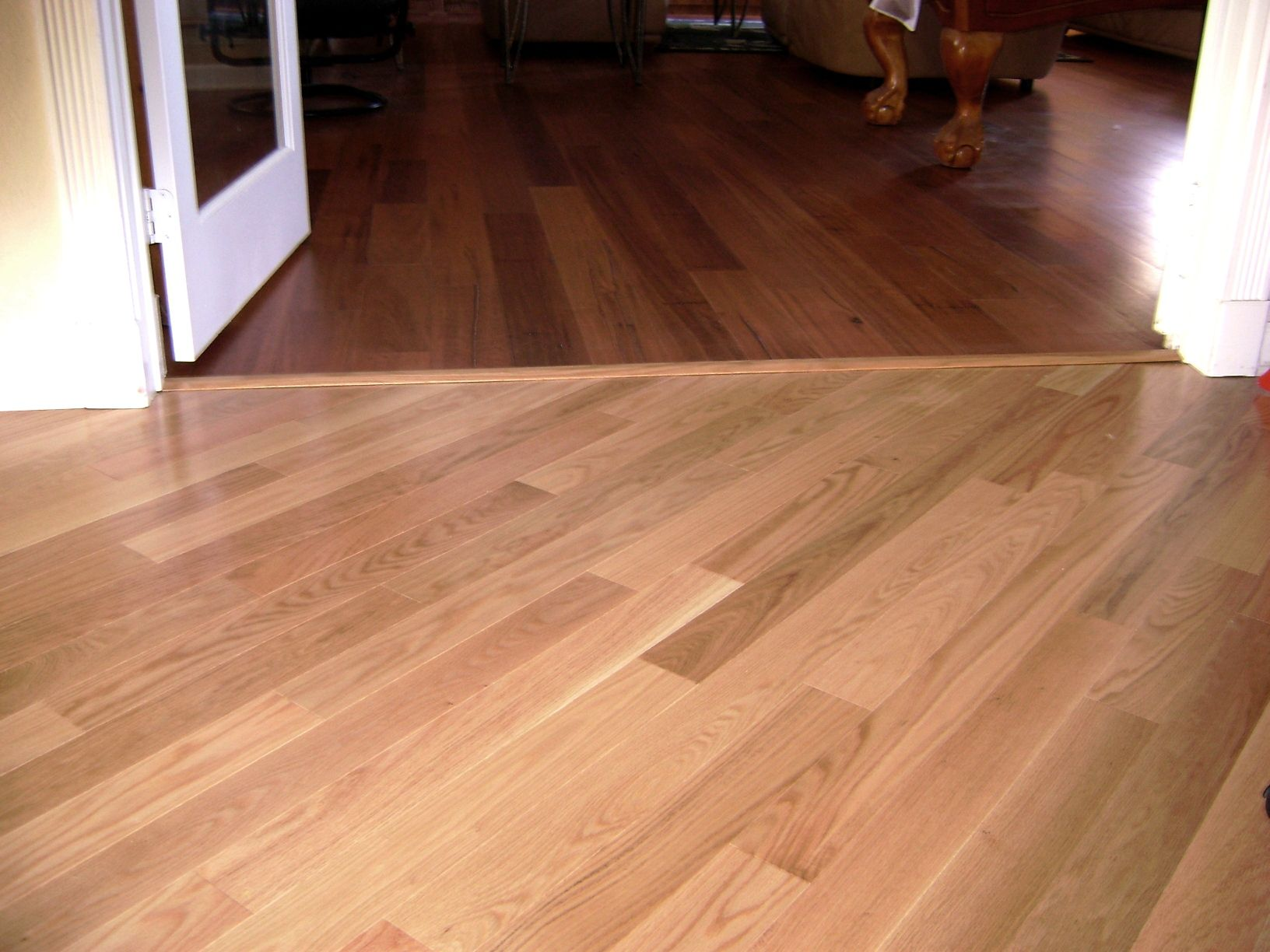 Light To Dark Wood Transition On A Diagonal Flooring Light