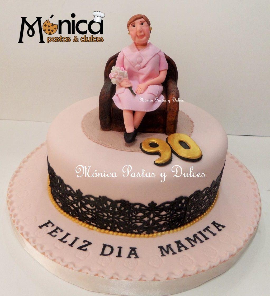 Torta para abuelita de 90 a os luki pinterest for Decoracion 80 anos hombre