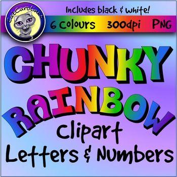chunky rainbow alphabet letters and numbers clip art teacher rh pinterest co uk Superhero Clip Art for Teachers free number clipart for teachers