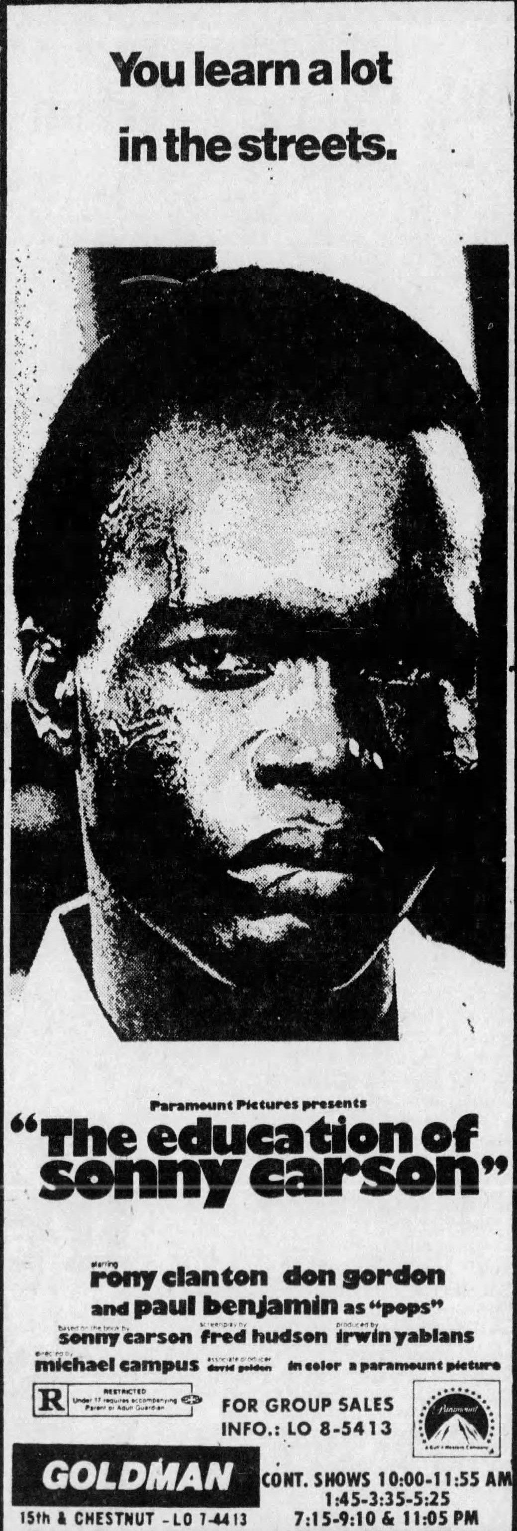 The Education Of Sonny Carson 1974 Don Gordon Philadelphia Inquirer Carson