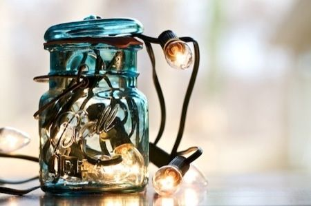 Mason Jar & Christmas lights!