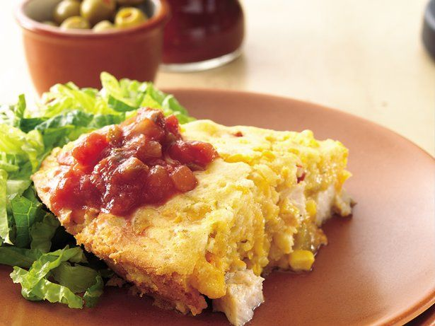 A corn batter tops chicken and favorite Mexican ingredients and turns into one hot tamale--pie, that is!