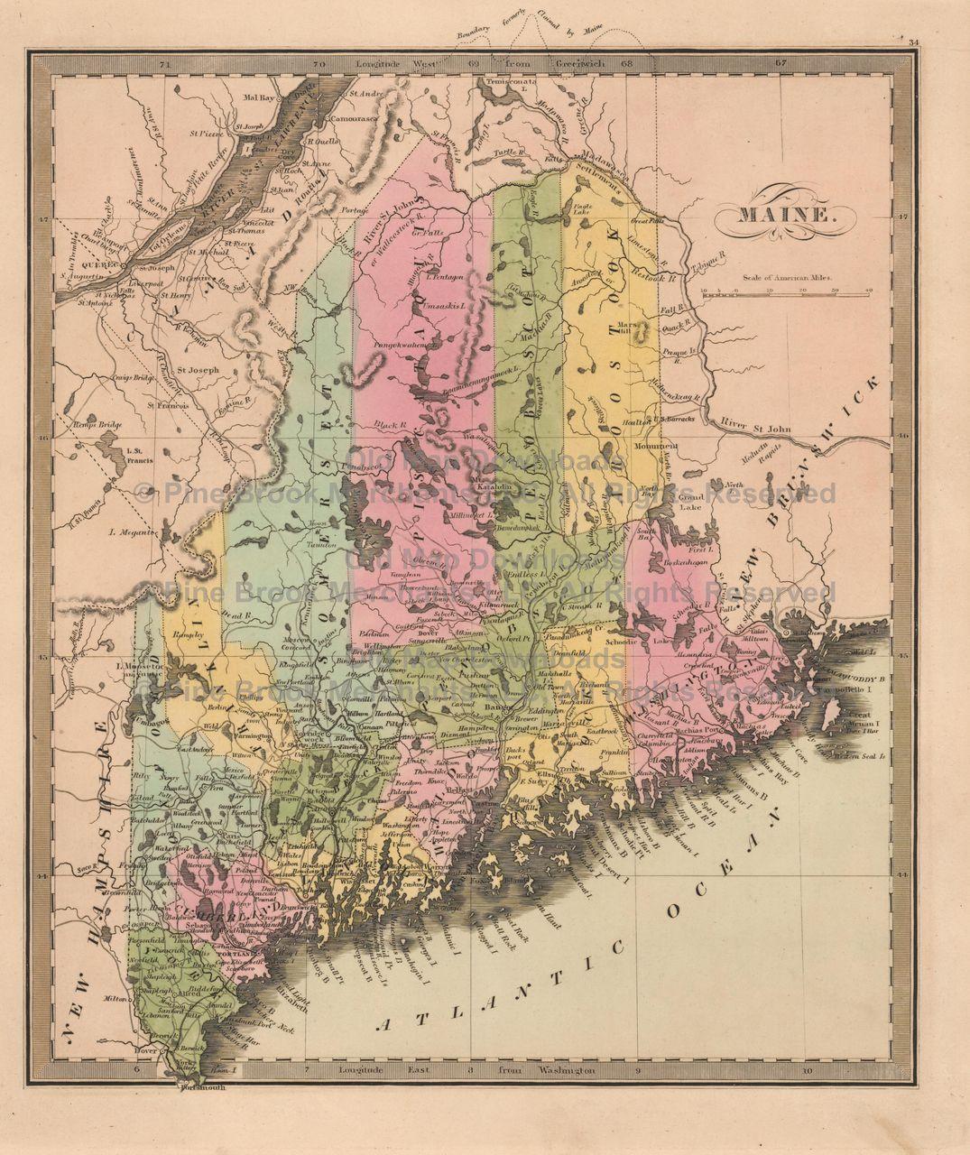 Maine Old Map Greenleaf 1844 Digital Image Scan Download Printable