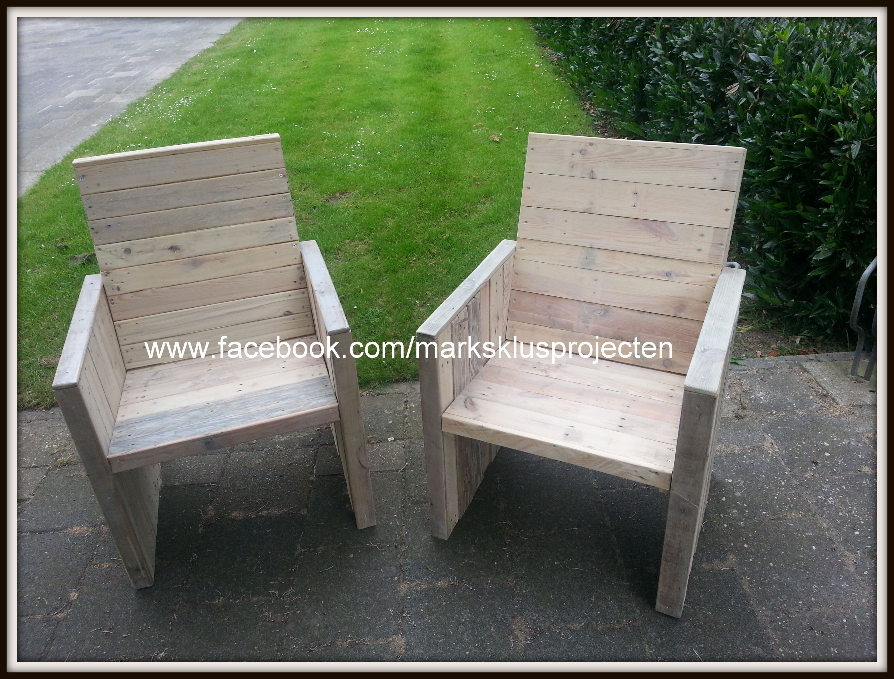 two garden chairs with different high backrests finished with a couple layers of whitewash varnish - Garden Furniture Varnish