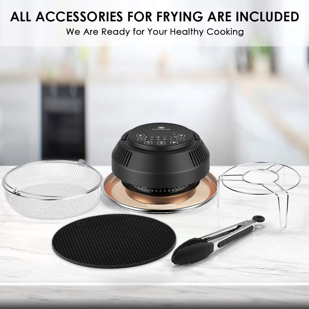 Trivet CrispyTop for 6/&8 Qt Pot Basket Instant access Tongs Silicone Mat Air Fryer Transformer CSS Air Fryer Lid Pressure Cooker Lid Turns Your Pressure Cooker into Air Fryer//Dehydrator//Broil