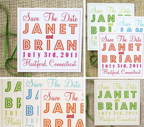 Brightly colored save the dates