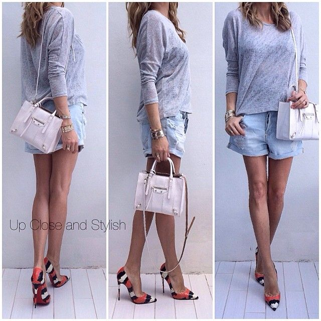 Today - #Forever21 top and shorts (both in stores now), #Balenciaga python bag and #Louboutin 'So Kate' 120mm heels. #Padgram