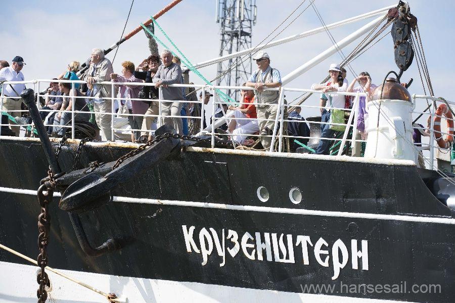 Sailing at Tall Ship Kruzenshtern during Hanse Sail Rostock