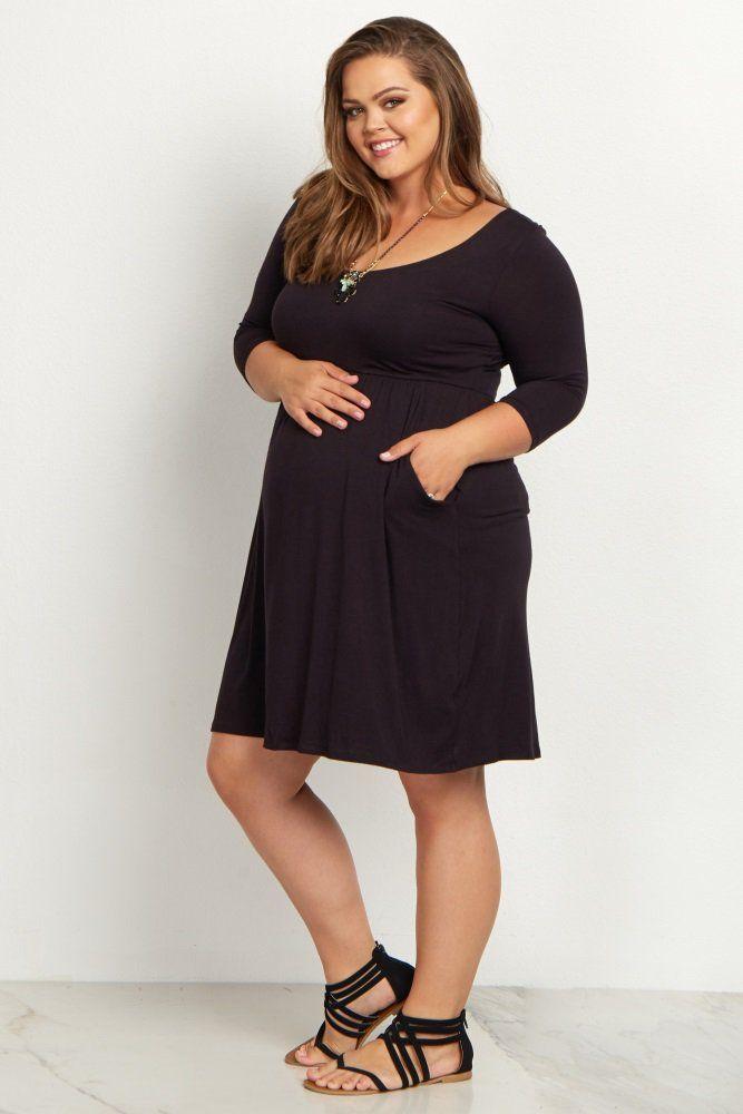 Black 3/4 Sleeve Plus Maternity Dress | Accessories ...