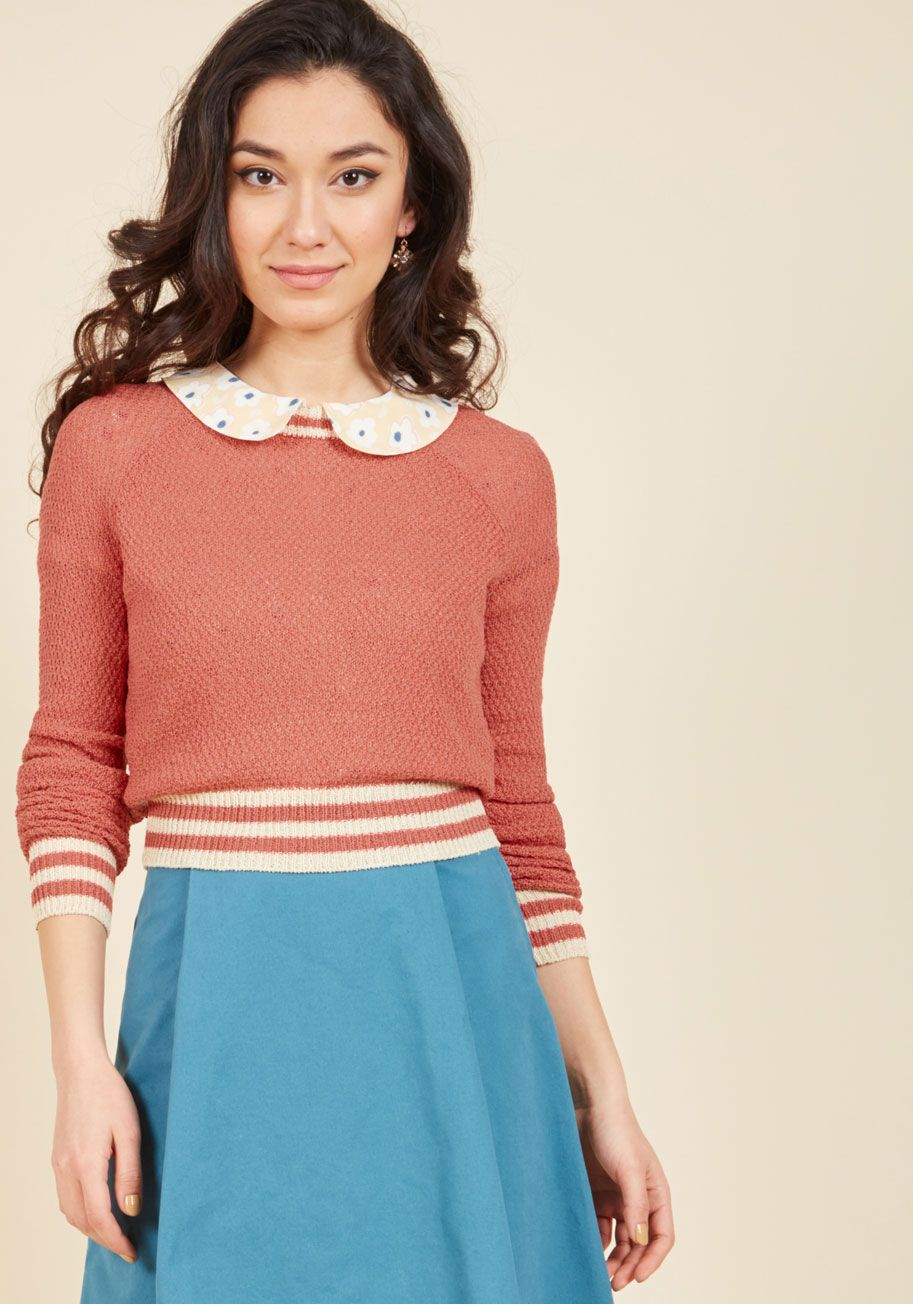 Midtown Mixer Sweater in Punch by ModCloth - Pink, Pink, Solid, Boho, Long Sleeve, Spring, Better, Exclusives, Variation, Private Label, Crew, Short, ModCloth Label