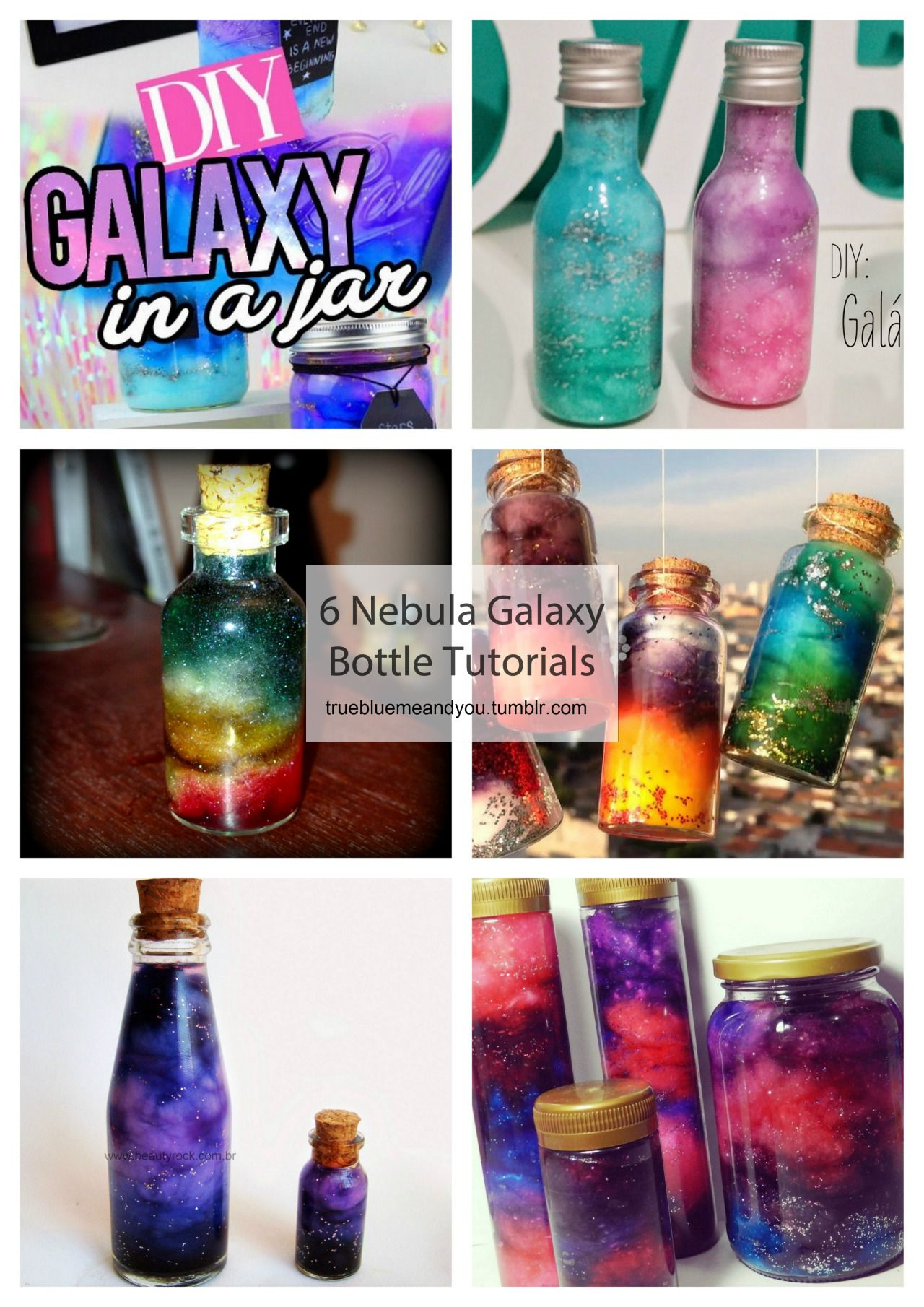 DIY 6 Nebula Galaxy Bottle and Jewelry Tutorials. Roundup from truebluemeandyou.tumblr.com. Have you seen these all over Etsy or on fashion blogs? Most links lead to scape sites and not the actual tutorials - whereas my links go to the original source. These are so cheap to make because all you need is water, cotton, paint-dye-ink, glitter and a container. What I have learned researching nebular or galaxy jars and bottles is that it is better not to use food coloring (some worry about…