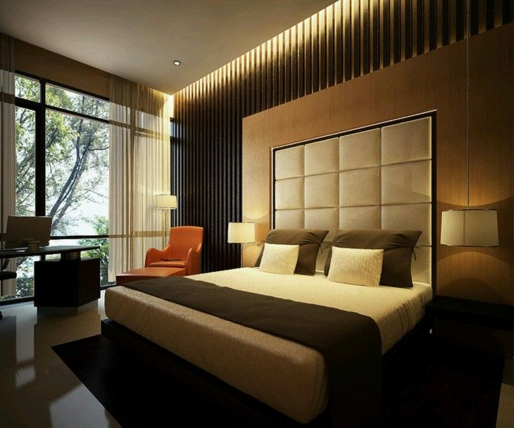 Modern Japanese Style Latest Bedroom Designs With Cream Headboard ...