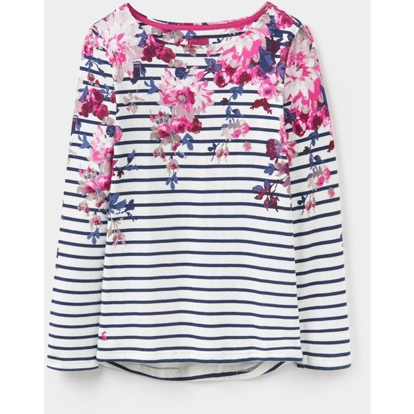 Harbour print Cream Floral Stripe Jersey Top | Joules UK (68 BAM) ❤ liked on Polyvore featuring tops, print top, patterned tops, floral tops, jersey top and floral print tops