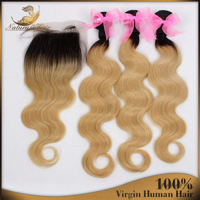 Find More Hair Weft with Closure Information about 7A Grade Virgin Peruvian Human Hair Body Wave 1B/27 Dark Root Honey Blonde ombre 3 Hair Weft with Lace Closure 4 pcs/Lot,High Quality weft human hair,China weft hair extension Suppliers, Cheap weft knitted from Natural Hair Crafts Factory on Aliexpress.com