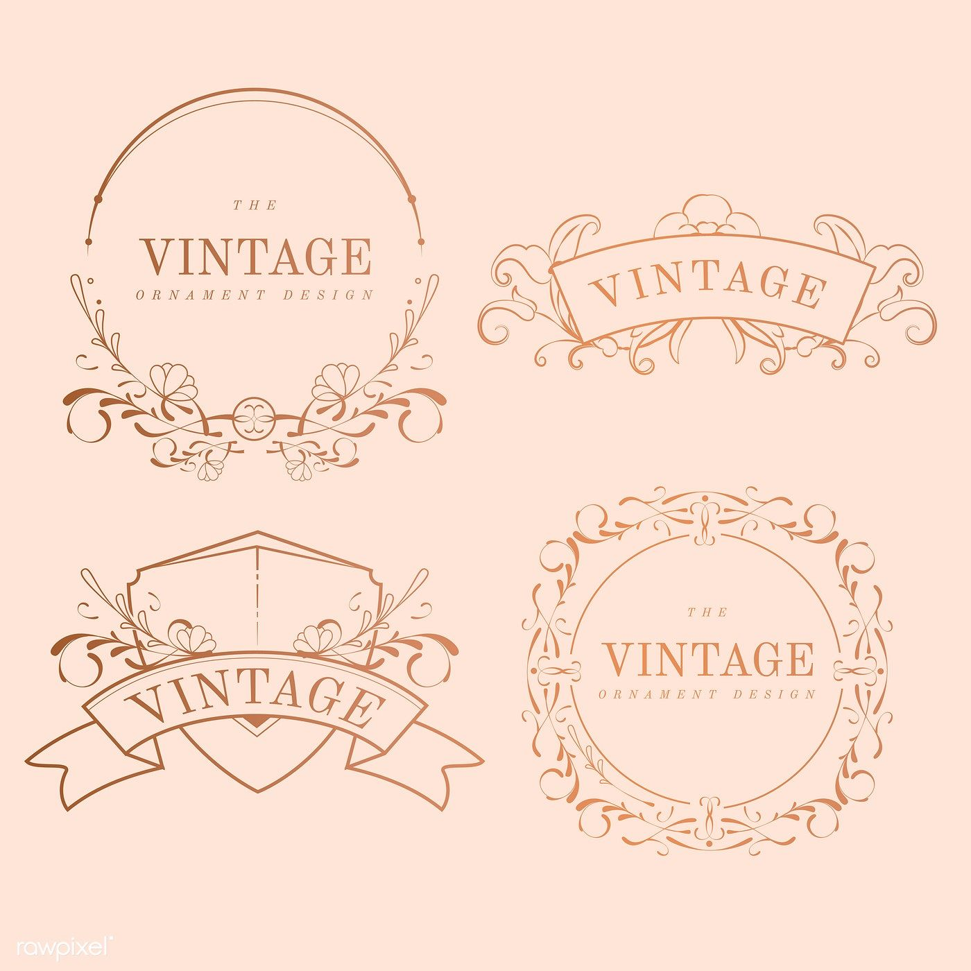 Vintage Rose Gold Art Nouveau Badge Vector Set