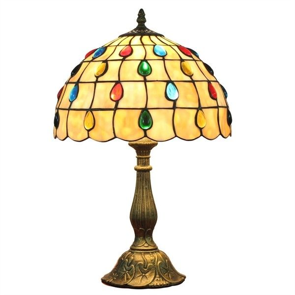 12inch European Pastoral Retro Style Table Lamp Colorful Gem Shade