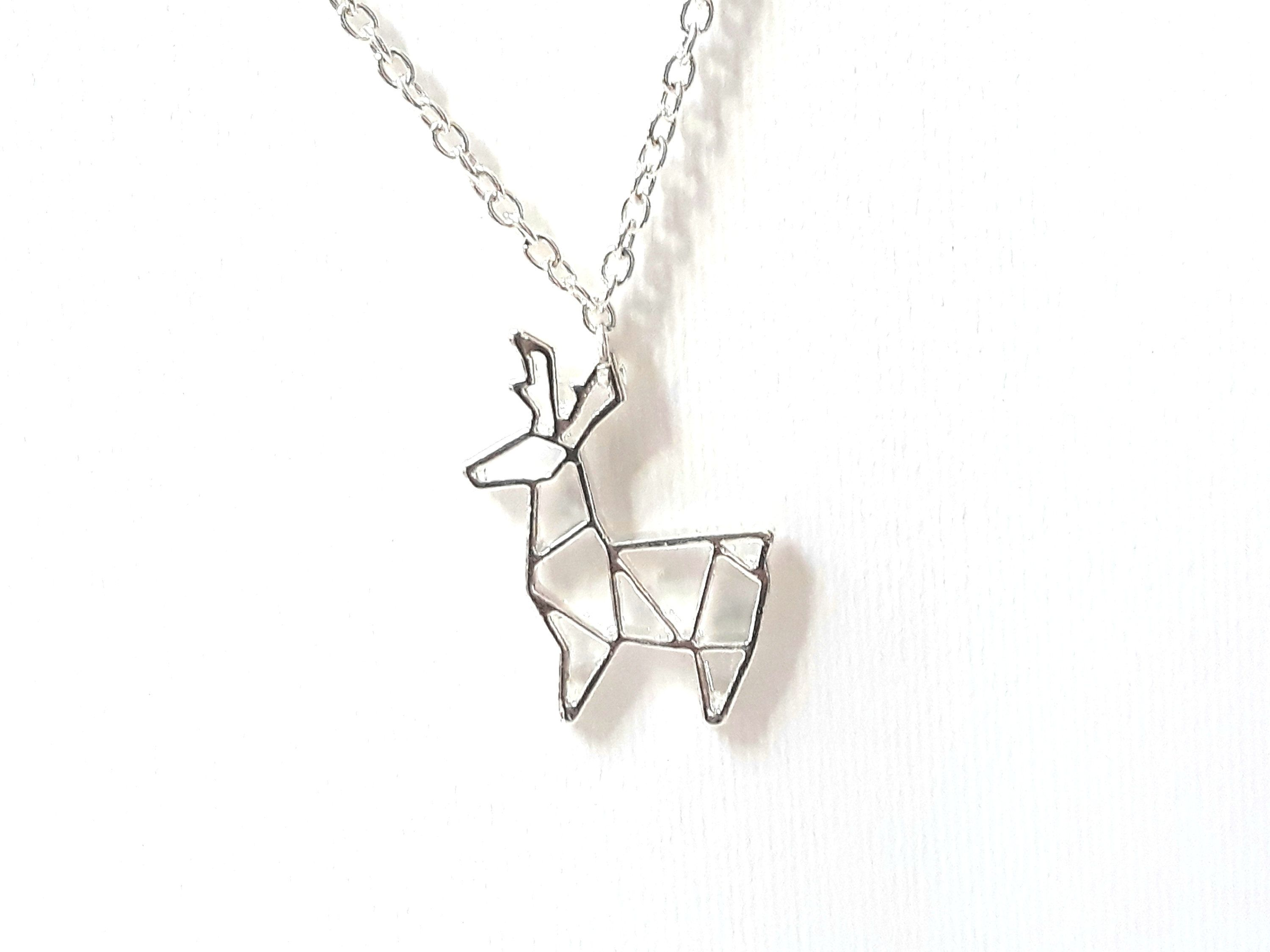 christmas pin origami necklace chain plated stag silver with pendant deer