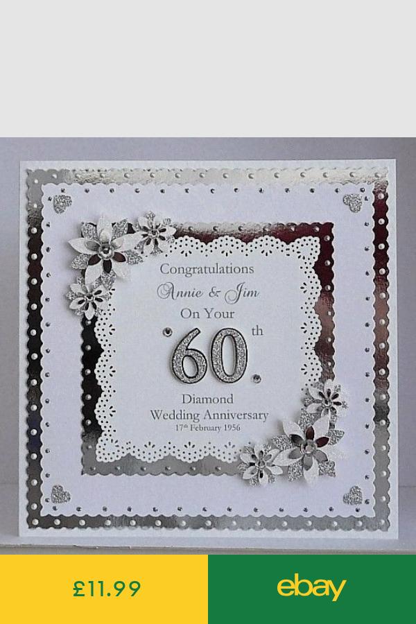 25th Silver Wedding Anniversary Card Personalised Handmade Diamond Wedding Anniversary Cards Anniversary Cards Handmade Wedding Anniversary Cards