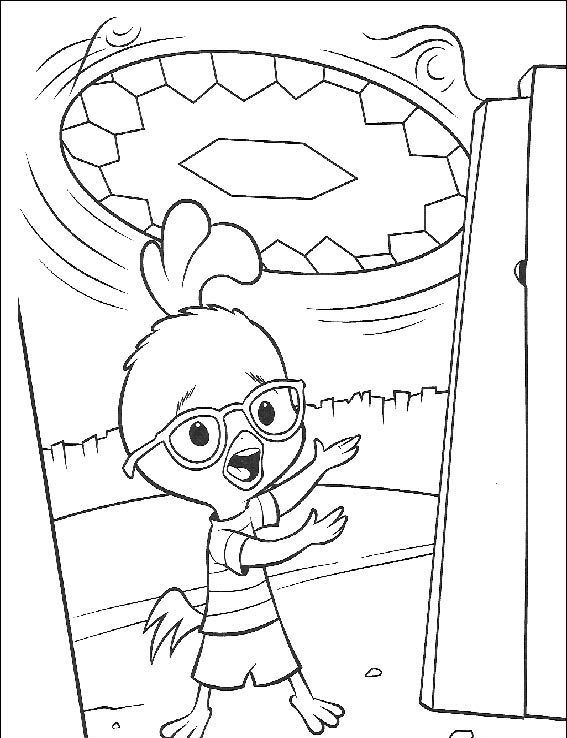 Chicken Little See Plane Alien Coloring Page - Chicken Little car ...