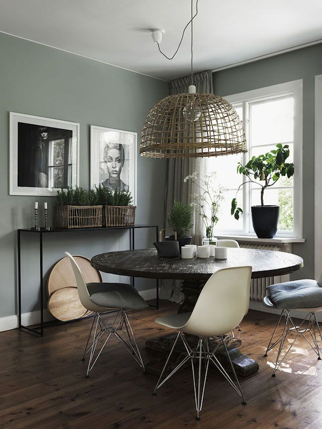 Green Walls In The Dining Area Of A Cool Swedish Home With Inspiring Touches Jonas Ingerstedt