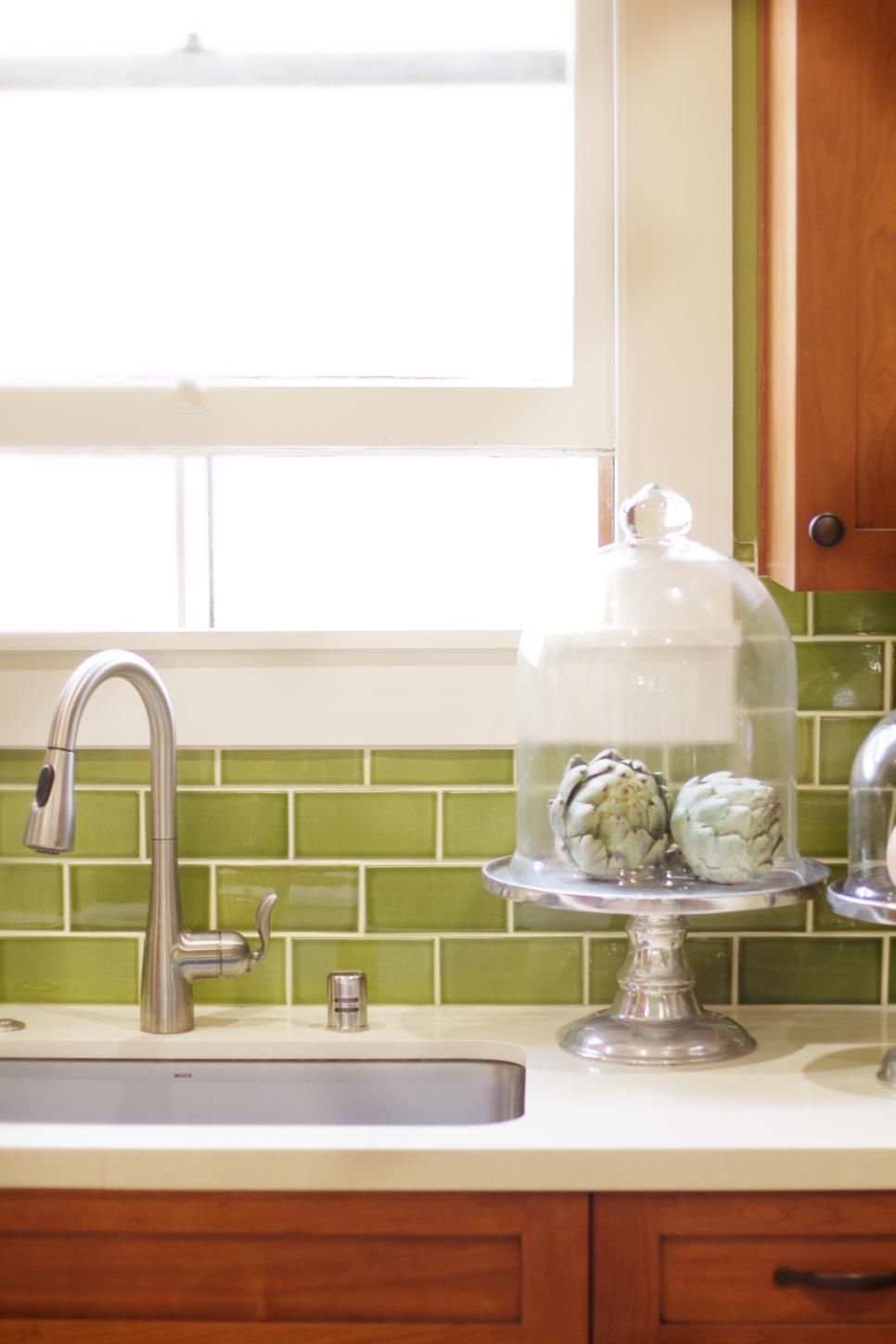New cabinetry and a dramatic apple green backsplash update this ...