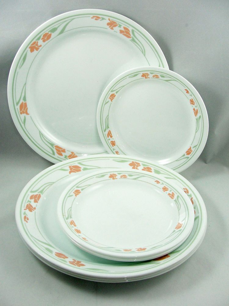 Corning Corelle Peach Garland 4 Dinner 10 25 4 Salad 7 25