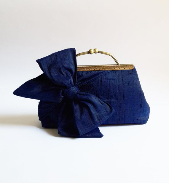 Hey, I found this really awesome Etsy listing at https://www.etsy.com/listing/207058128/bridal-clutch-purse-navy-blue-silk