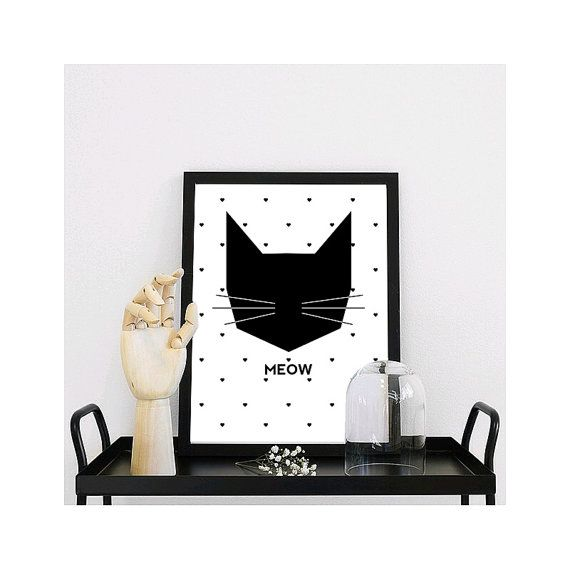 Skandinavische Poster miau schwarze katze skandinavische kunst skandinavische poster