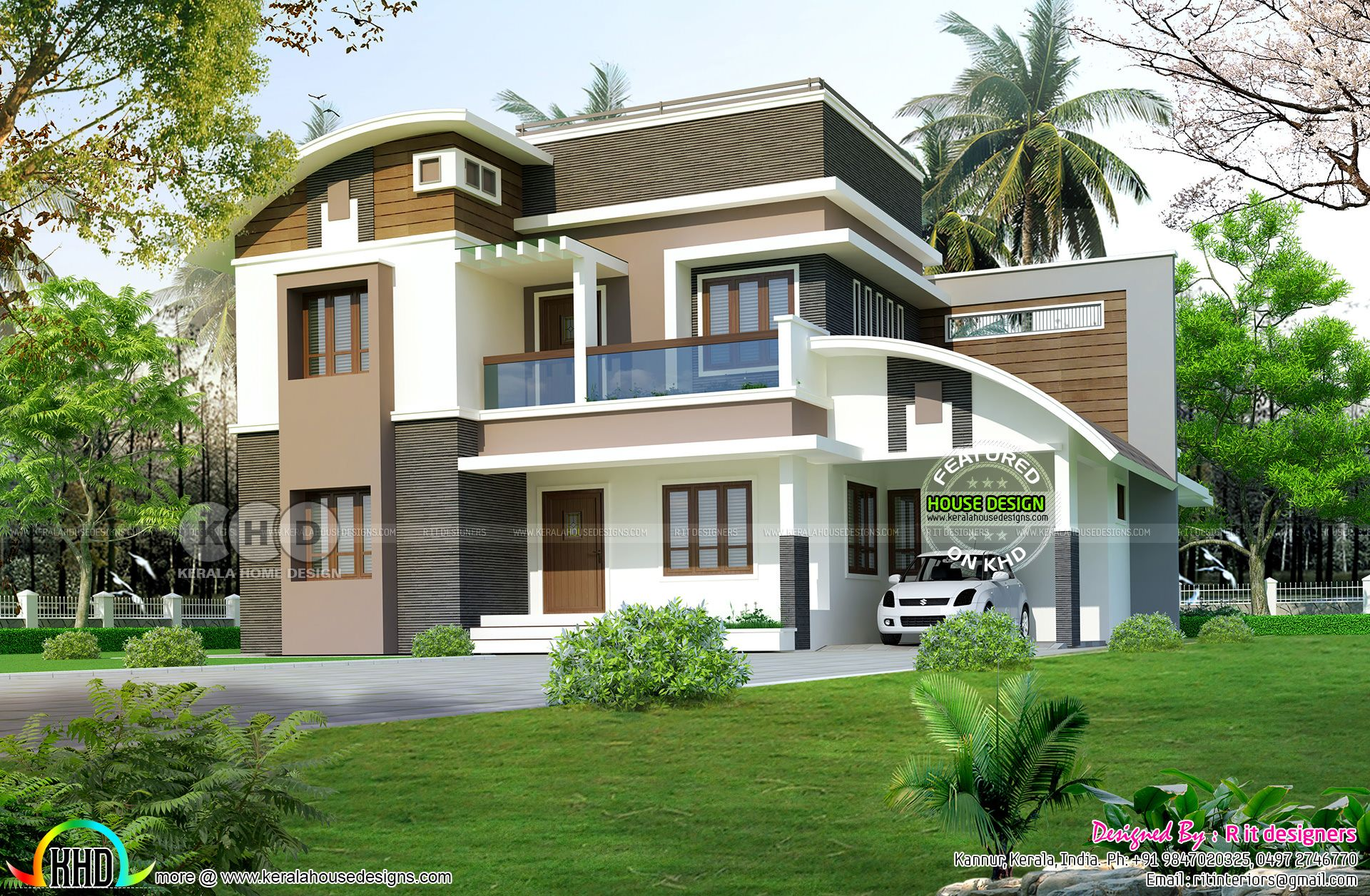 Nice 4 Bedroom Curved Roof Mix Contemporary Home Part - 14: 2455 Square Feet, 4 Bedroom Curved Roof Mix Modern House Plan By R It  Designers, Kannur, Kerala.