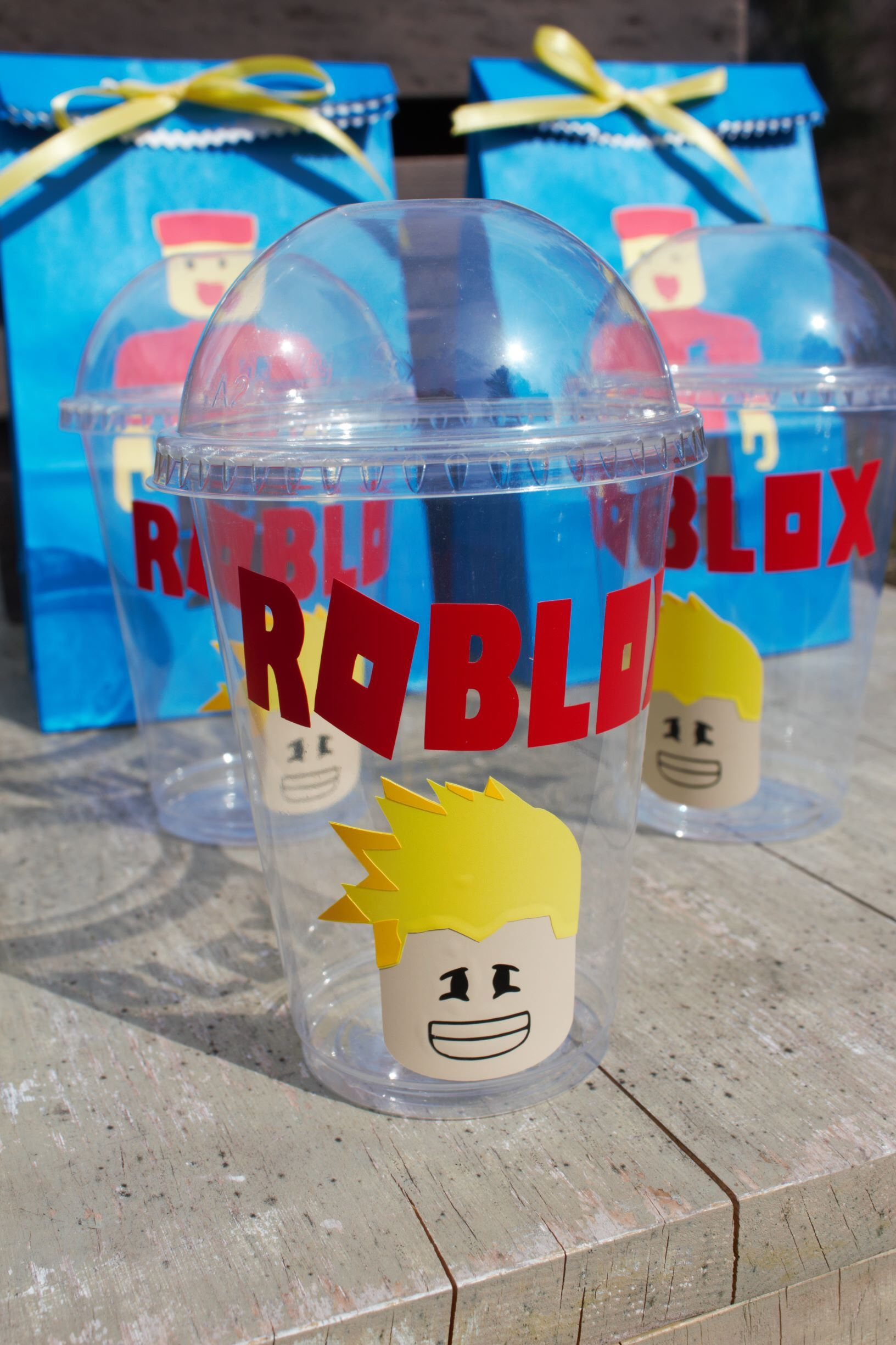 Roblox Birthday Party Gable Box Gift Bag Label Sticker Vinyl