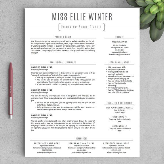 Teacher Resume Template for Word and Pages (One  Two Page Resumes