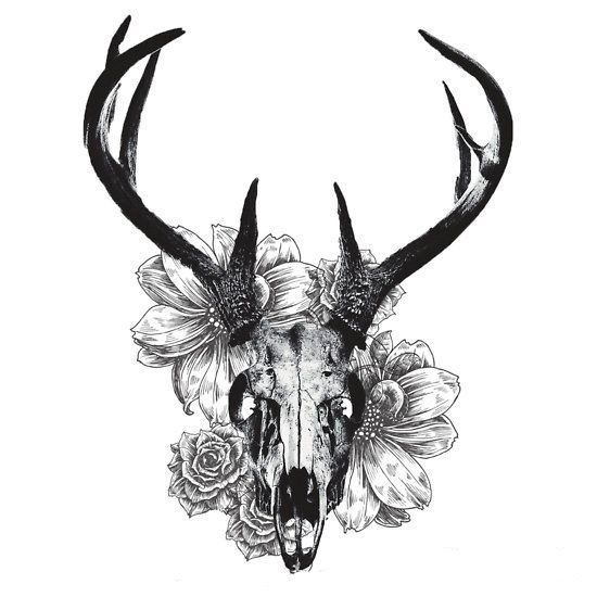 deer skull and flowers temporary tattoos einfache. Black Bedroom Furniture Sets. Home Design Ideas