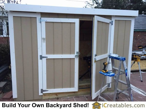 4x10 Lean To Short Shed Plans Doors Hardware Jpg 600 450 Pixels