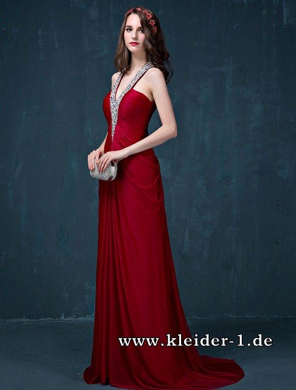 V Ausschnitt Abendkleid 2017 Abeline | Rote Kleider online kaufen ...